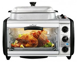 NutriChef Dual Countertop Toaster Oven – Perfect for Multi Baking Sear Simmer Saute & Rotisserie – Include Kitchen Bakeware Set Cooking Pot Wire Grill & Bake Tray with 27+ Quart Food Capacity PKMFT027